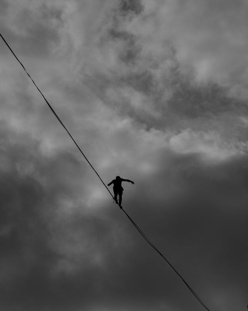 A confident tightrope walker